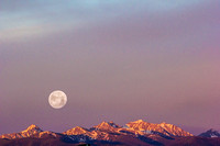 Supermoon Set over the Spanish Peaks in Bozeman, MT